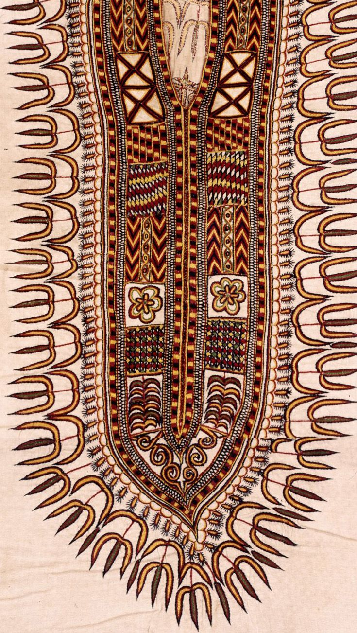 Africa neckline embroidery detail from a tunic from ethiopia