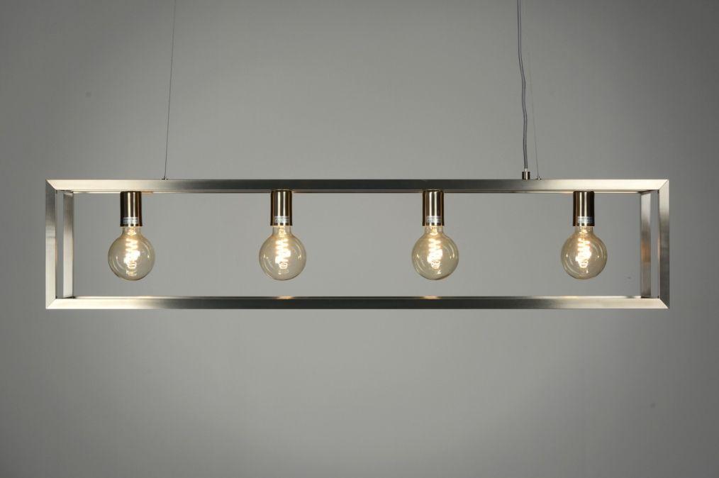 Eettafel lamp hang stalen frame hanglamp 87313 modern for Lampen 4 you