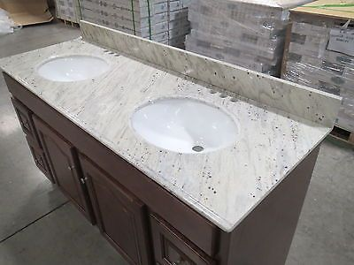 River White Granite Vanity Top 61x22 Double Bowl With Images