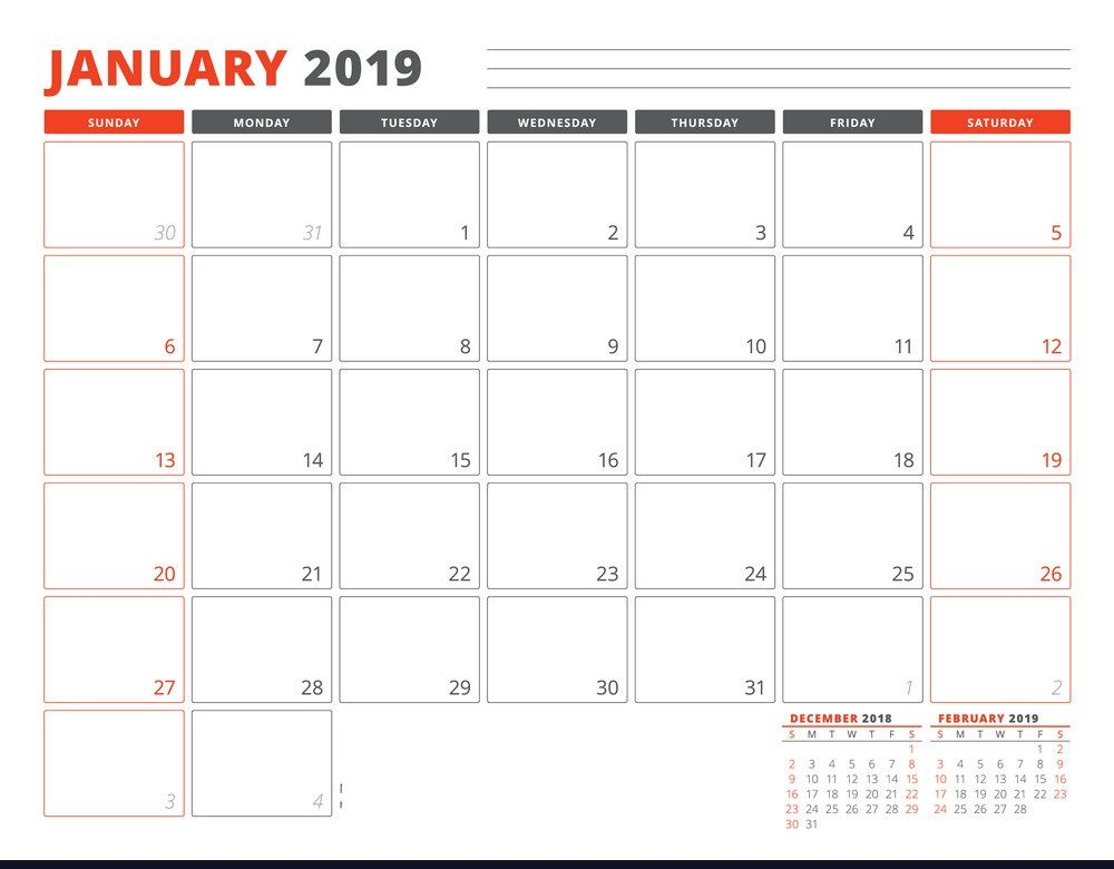 January 2019 Australian Calendar Planner Template With Two Months