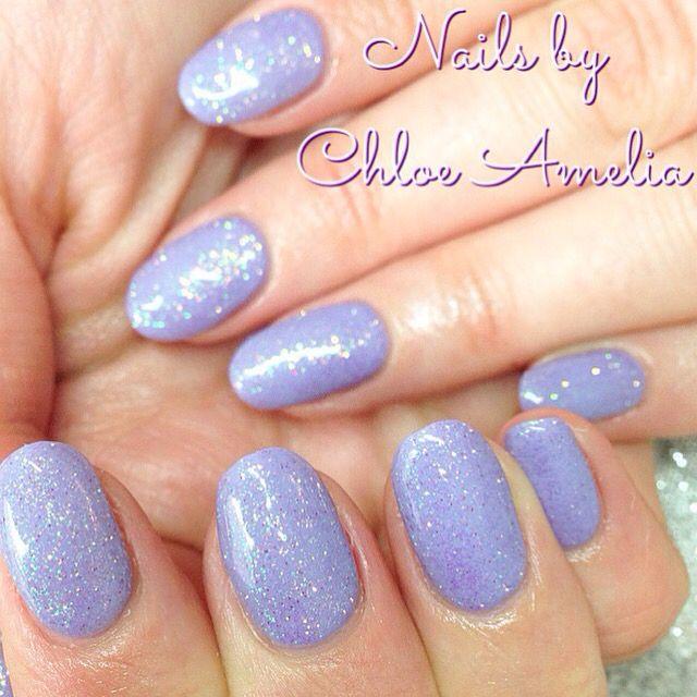Calgel Violetini Manicure With Lilac Glitter