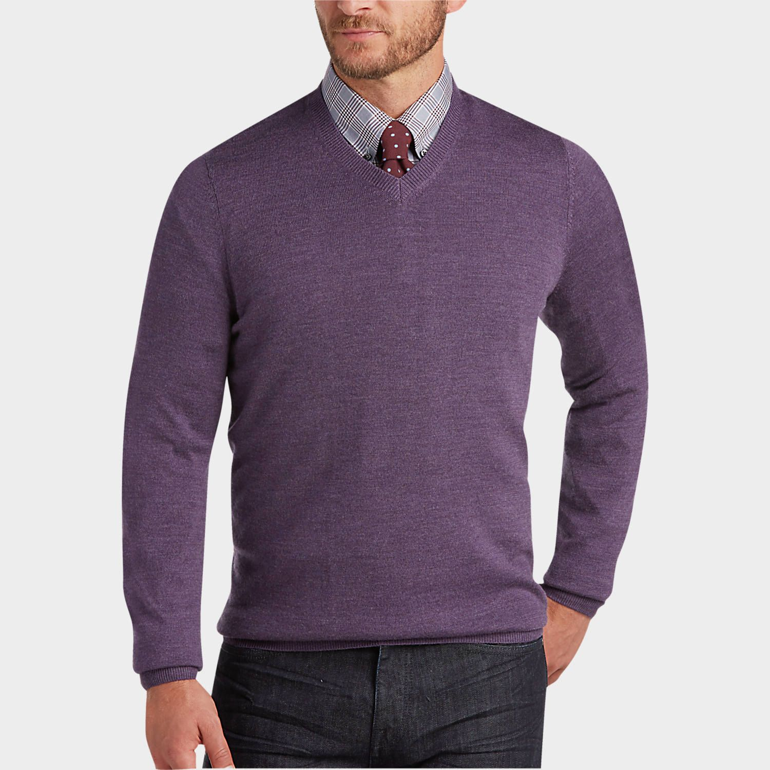 7b3880790c02 Buy a Joseph Abboud Scarlet V-Neck Merino Wool Sweater online at Men s  Wearhouse. See the latest styles of men s Sweaters. FREE Shipping on orders   50+.