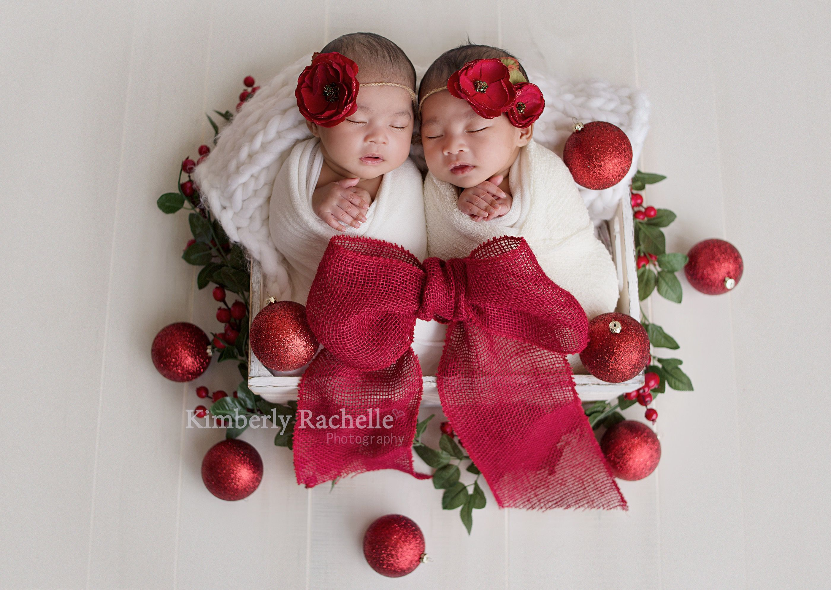 Christmas newborn twin baby photography pictures session