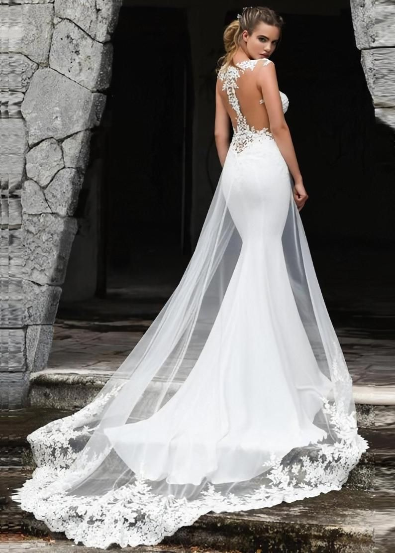 Classic Mermaid Chapel Train Satin Wedding Dress   Etsy ...