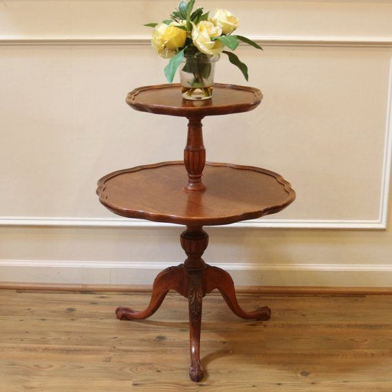 Vintage Mersman Mahogany 2 Tier Pie Crust Edge Dumb Waiter End Table End Tables Beautiful Table Table
