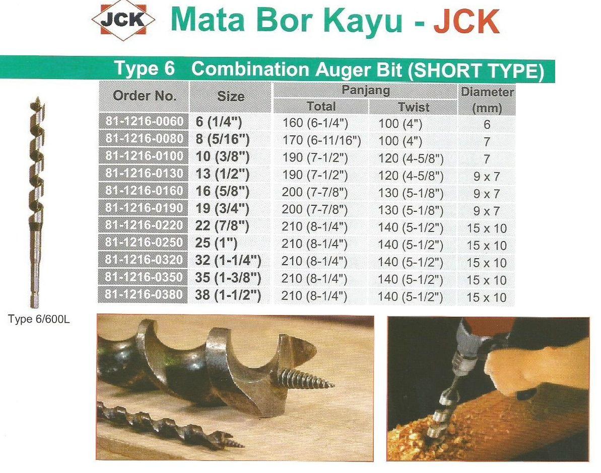 Mata Bor Kayu Short Type Size 6 mm JCK Type6 Ada