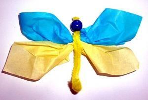 bastelsachen/basteln-Libelle-tuerkis-gelb