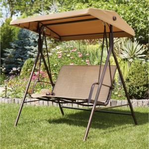 Hampton Bay Mix And Match 2 Person Sling Outdoor Swing Gss00224bw The Home Depot Outdoor Swing Outdoor Swing With Canopy Patio Swing