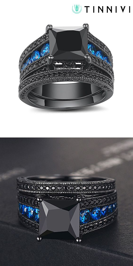 03fa2c4e0bc Shop ❤️Black Princess Cut Black 925 Sterling Silver Engagement  Ring❤️online️