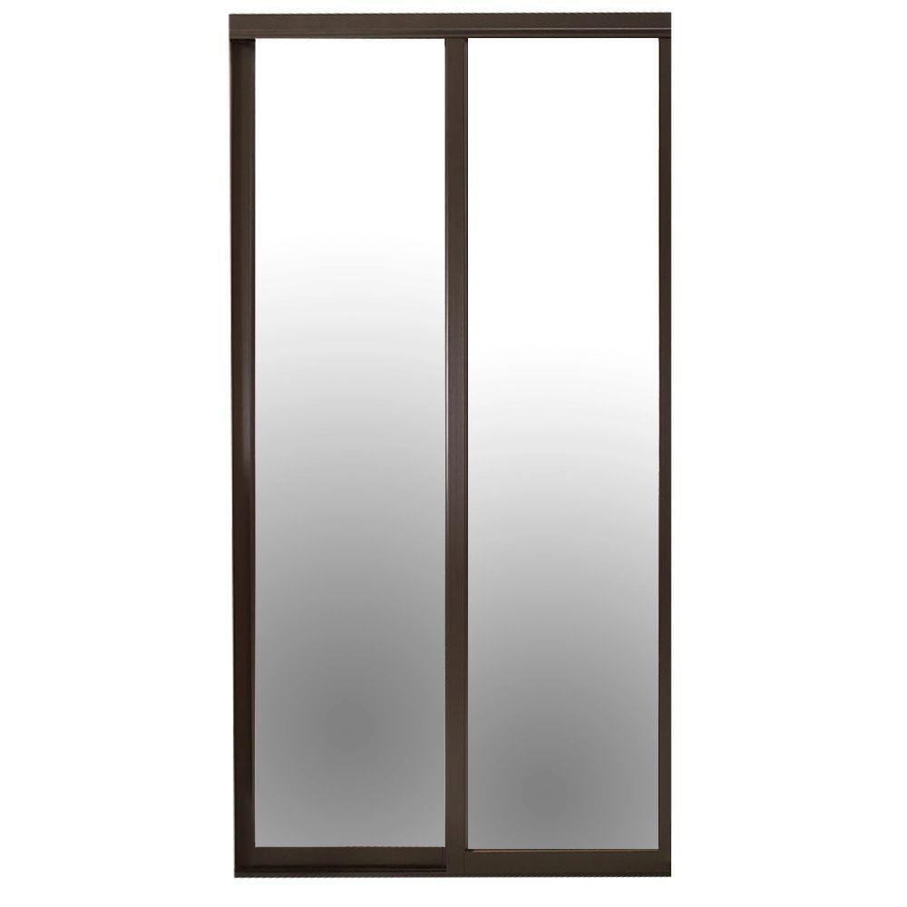 Contractors Wardrobe 84 In X 81 In Serenity Espresso Wood Frame Mirrored Interior Sliding Door Ser Mcl8481es2x The Home Depot Wood Framed Mirror Sliding Doors Interior Mirror Interior