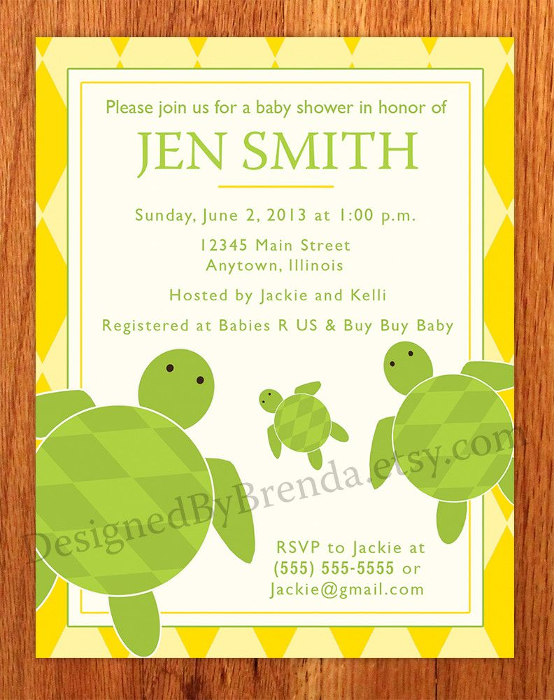 Sea Turtle Baby Shower Invitation - Blue and Pink | Turtle baby ...