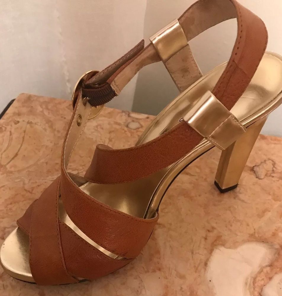 e3348cd08e3 Michael Michael Kors Luggage Brown And Gold Heels Sandals Womens Size 7.5 M  GC