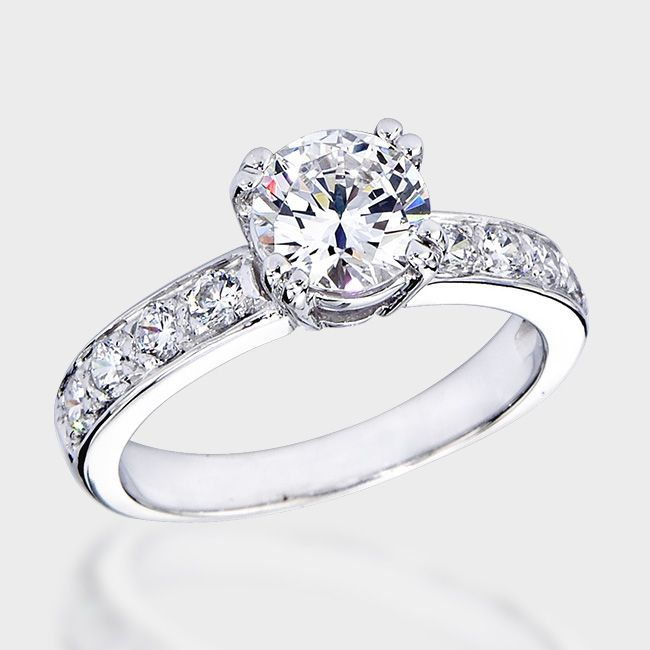 1 0 Ct Round Fancy Cz Solitaire Engagement Ring