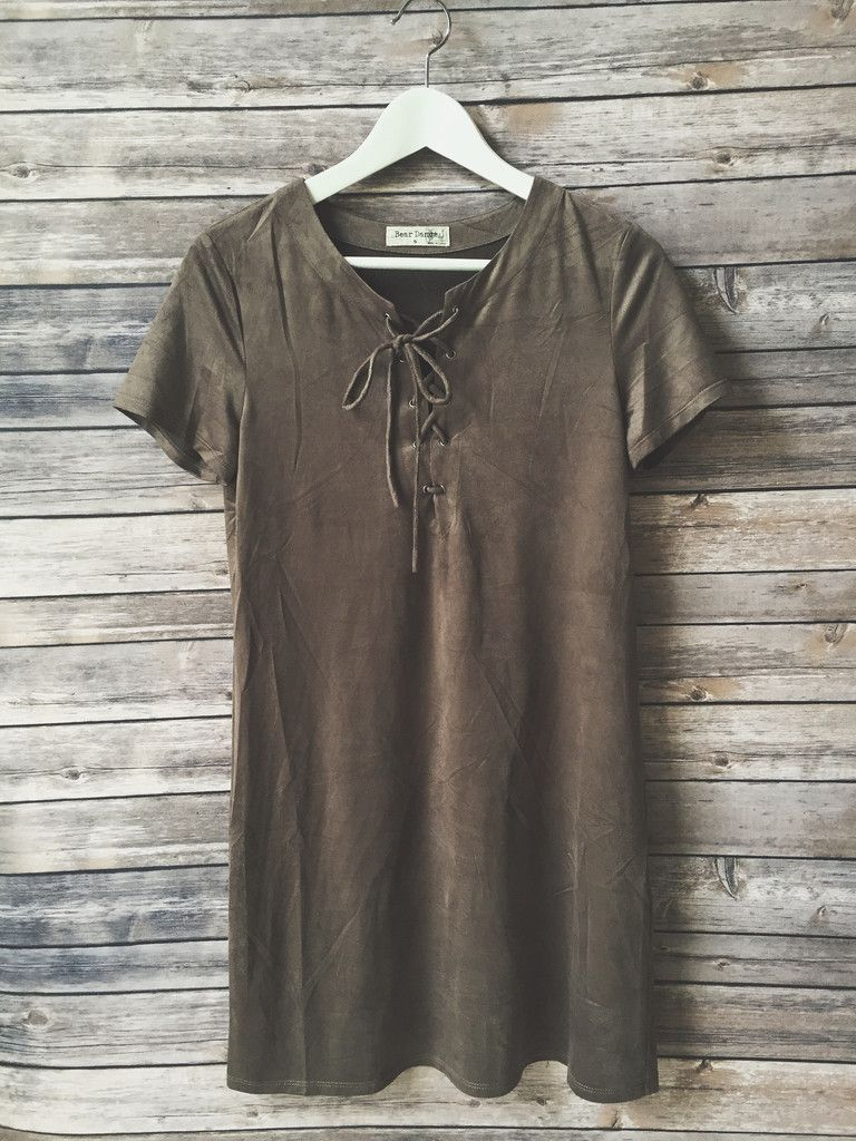 Green t shirt dress outfit  Carleigh Faux Suede Tshirt Dress Gray  Dresses  Pinterest  Its