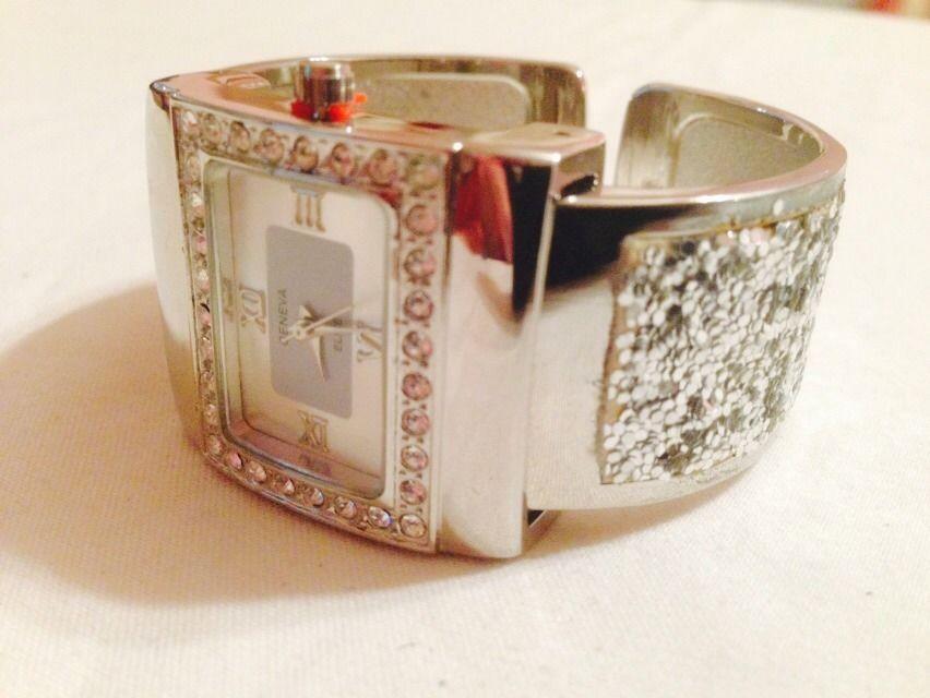 Stunning Silver & Rhinestone & Silver Glitter Bangle Cuff Watch New #Geneva #LuxuryDressStyles