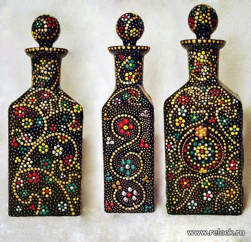 botellas con puntillismo buscar con google mis cosas pinterest points et peinture. Black Bedroom Furniture Sets. Home Design Ideas