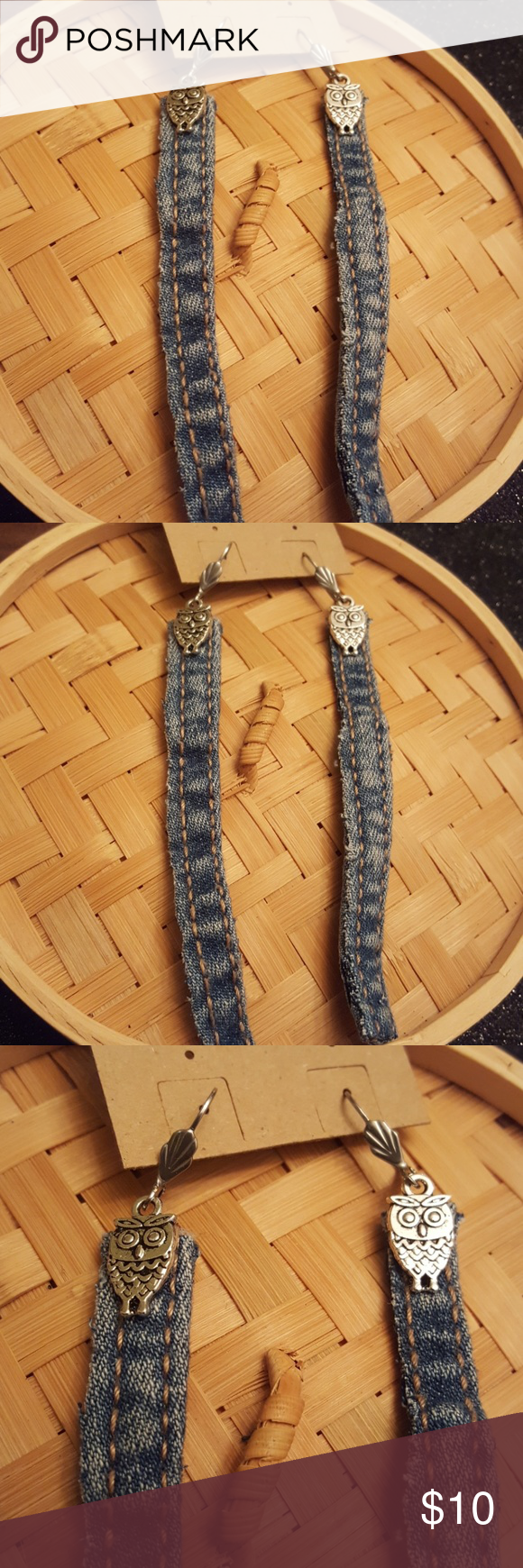 Blue jeans strips steams Owl dangling earrings Blue Jeans strips steams earrings with top small Silver Owls.  Surgical steel lever backs ear wires.  Hypoallergenic.   3 inches in length light weight. Jewelry Earrings