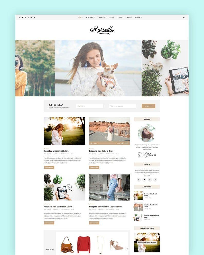 Marseille Wordpress Theme Blog Theme Premade Blog Themes Etsy