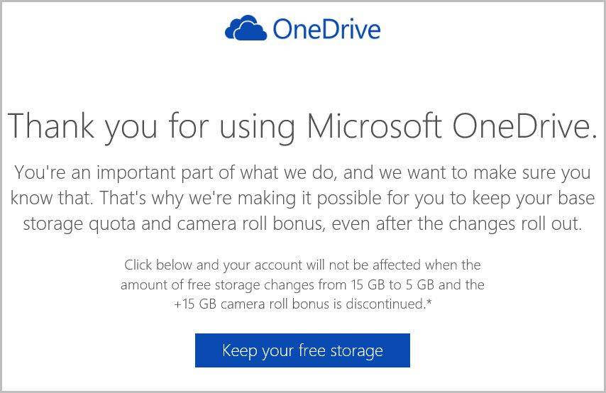 After announcing major changes to its OneDrive cloud