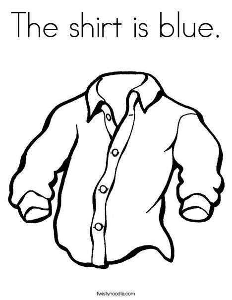 The Shirt Is Blue Coloring Page From Twistynoodle Com
