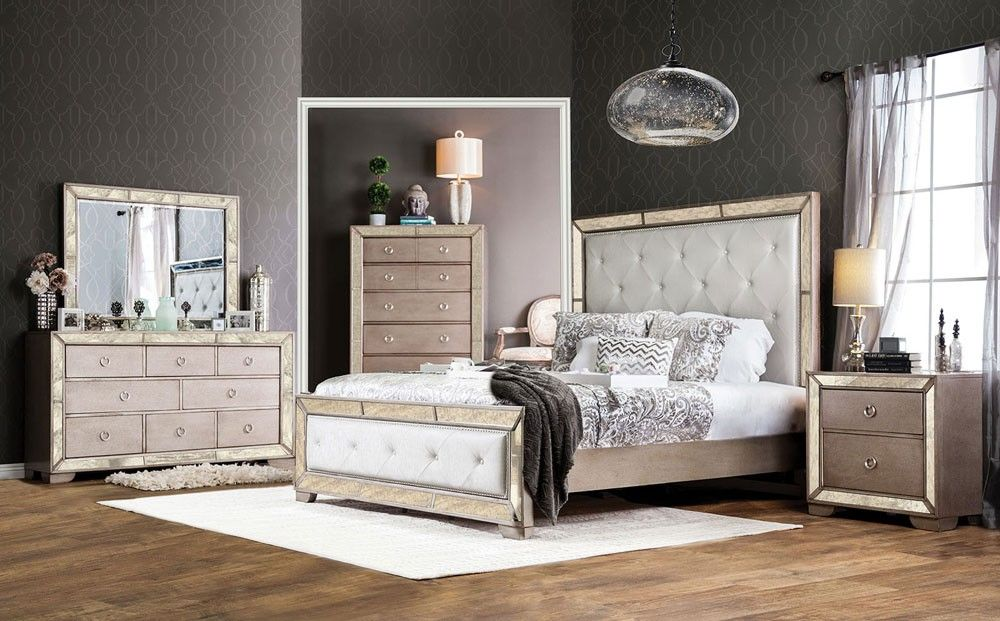 Ailey Bedroom Furniture With Mirrored Accents. Melrose discount ...