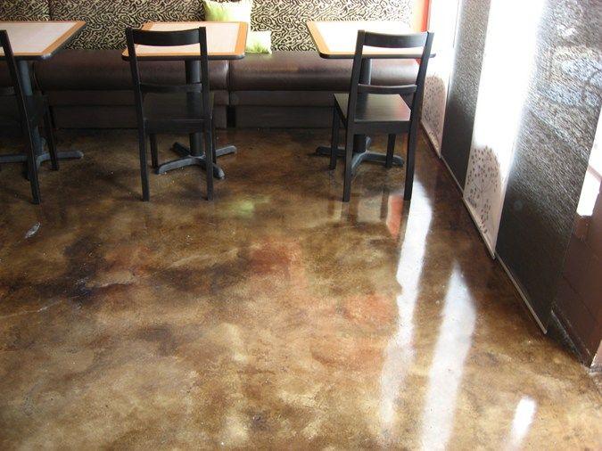 Acid Stain Marbling Concrete Restaurant Floor Concrete