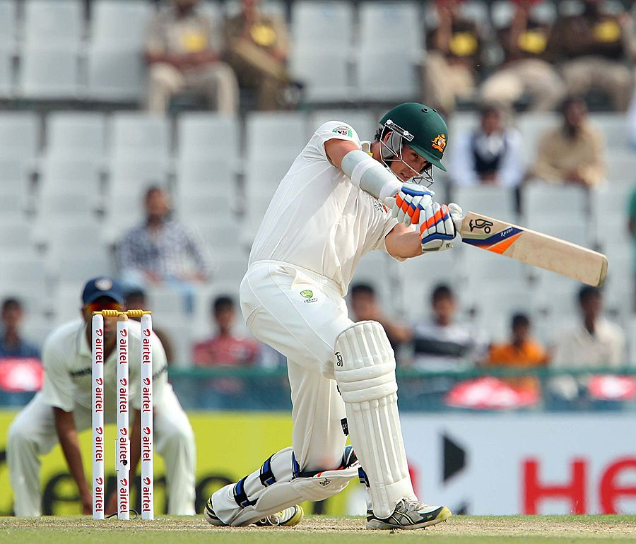 Mitchell Starc (Aus) 99, attempts an aggressive shot, vs India, 3rd Test, Mohali, 3rd day, March 16, 2013