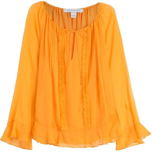 9357a872747d8 Diane von Furstenberg Silk Bohemian Blouse ($175) ❤ liked on ...