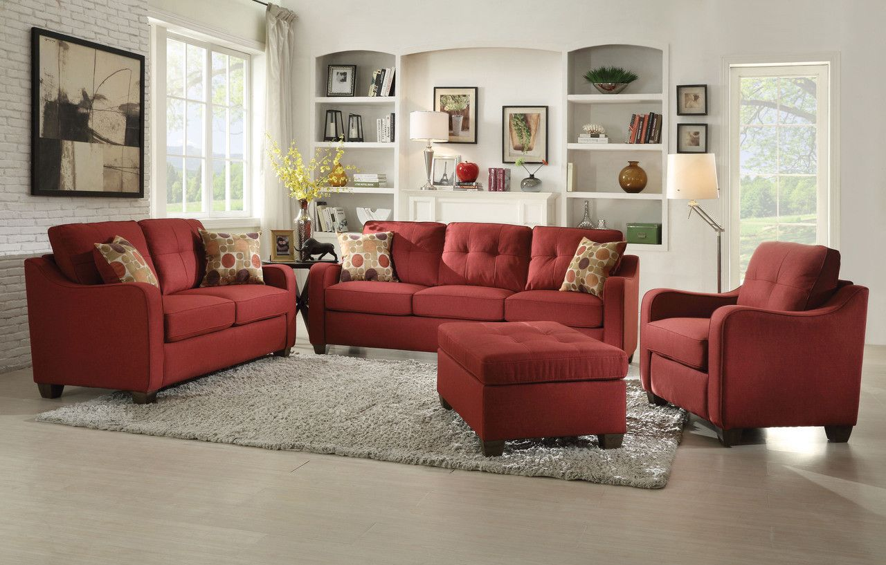 Cleavon Red Sofa W Pillows Pillows and Loveseats