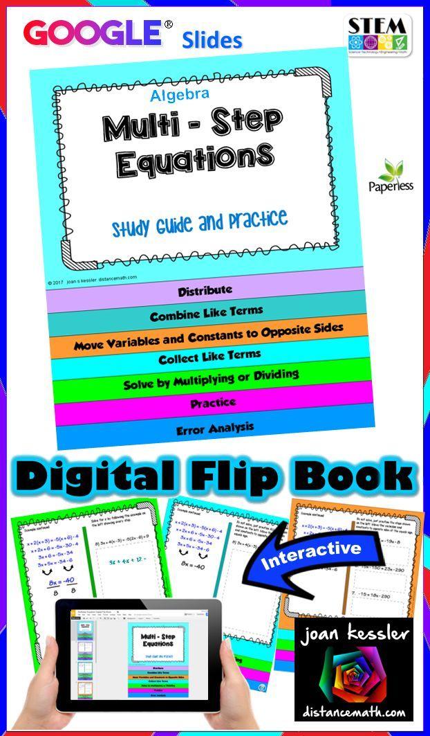 Multi Step Equations Digital Flip Book with GOOGLE Slides™ | Flip ...