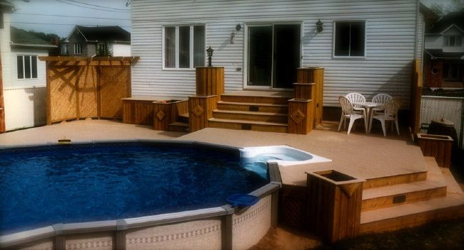 above ground pool decks tear drop with a walk in
