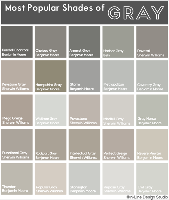 Most Popular Shades Of Gray • My Most Recent Project