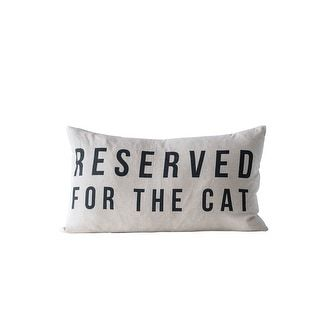 """""""Reserved for the Cat"""" Cotton Pillow (Beige)"""