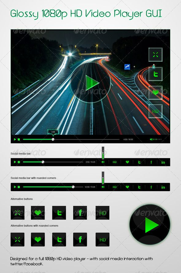 A FullHD GUIfor a custom video player  Features including