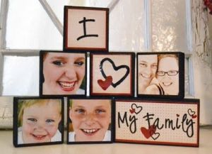 photo blocks DIY...this would be cute for I love my Sisters or I Love my niece and nephews! :)