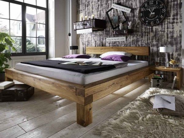 Bett Eiche Balken massiv 140x200cm   Repurpose/diy furniture   Bett ...