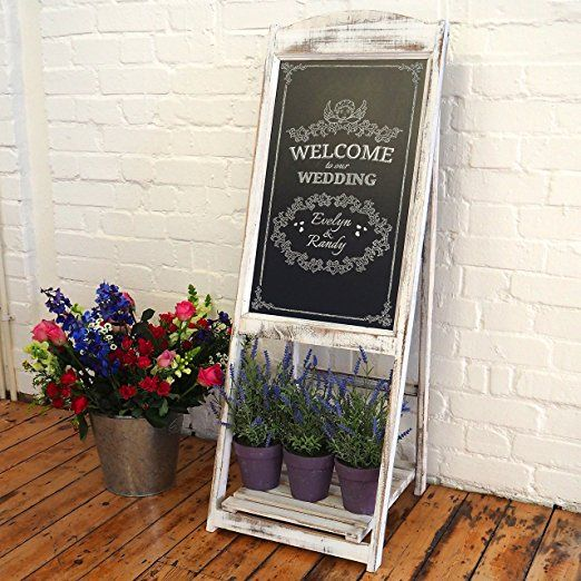 Chalkboard Sandwich Board Easel in Vintage Rustic Style Compatible with Liquid Chalk Markers / Pens White Wood Frame