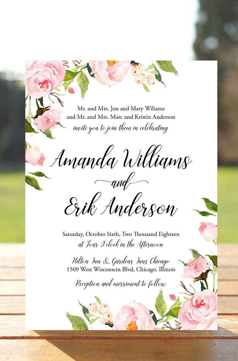 Peony Floral Wedding Invitation Suite Rose Wedding Invitation Etsy Wedding Invitations Printable Templates Fun Wedding Invitations Cheap Wedding Invitations