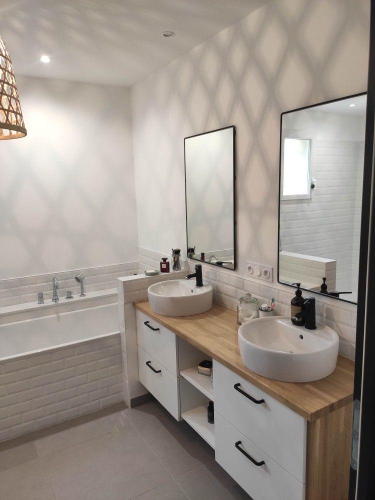 Bathroom White And Wood En 2020 Meuble Blanc Et Bois Salle De Bain Meuble Blanc