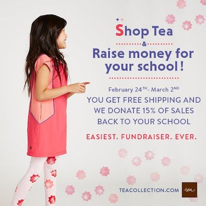 What an awesome way to raise money for YOUR school through Tea Collection! Special offer for Goosie Girl's blog readers, Save $25 and get free shipping on any $150 Tea Collection order, plus shop the special sale and donate back to your favorite non-profit or your school!