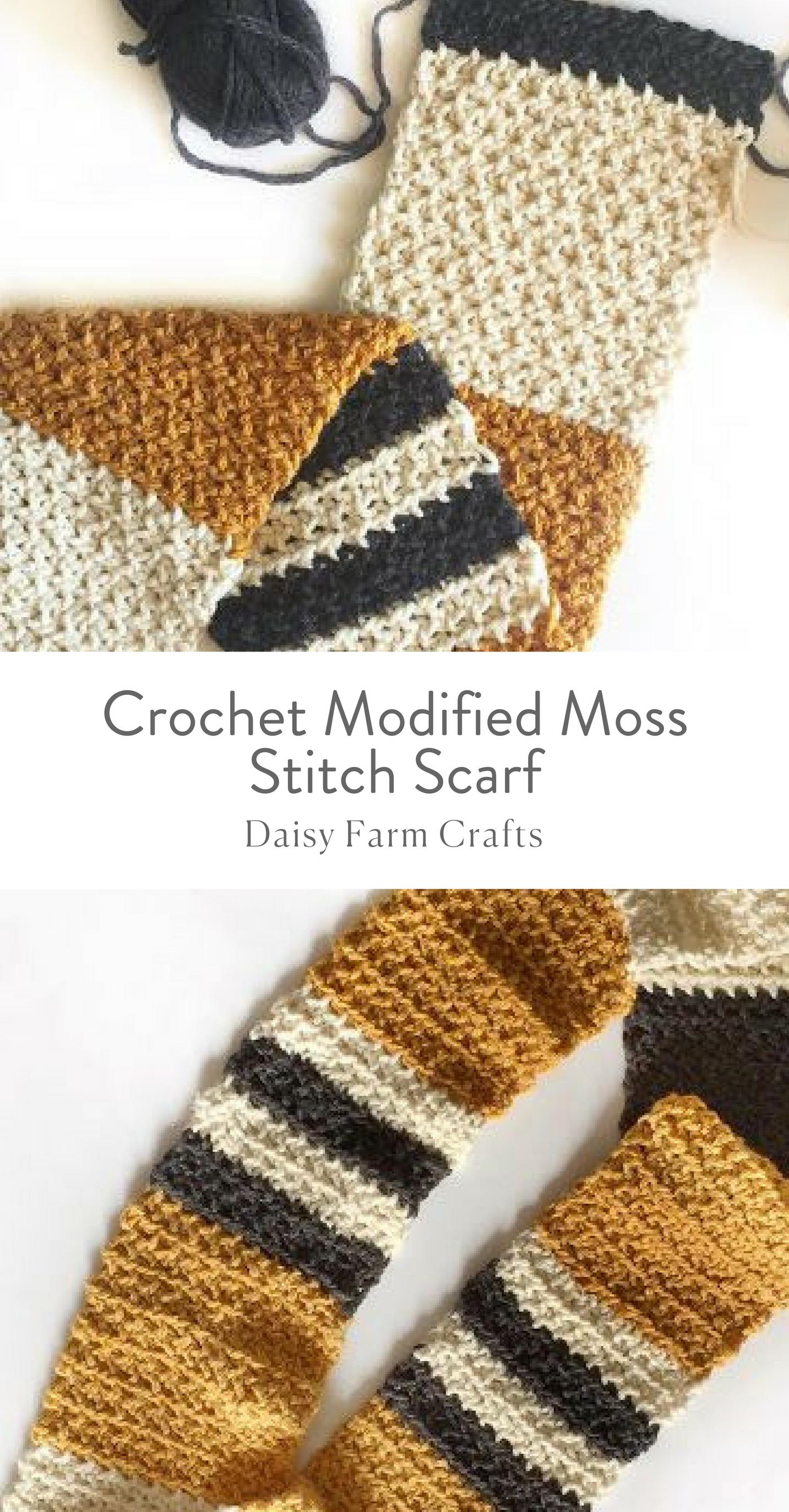 Free Pattern - Crochet Modified Moss Stitch Scarf | Knitting ...