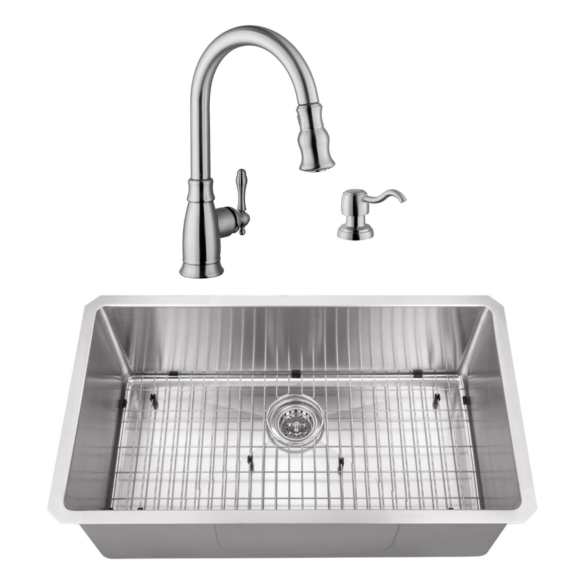 Cahaba Undermount 32 In Radius Corner 16 Ga Stainless Steel Kitchen Sink And Traditional 1 Handle Pull Down Kitchen Faucet With Dispenser In Brushed Nickel Brushed Nickel Faucet Stainless Steel Kitchen Double Bowl