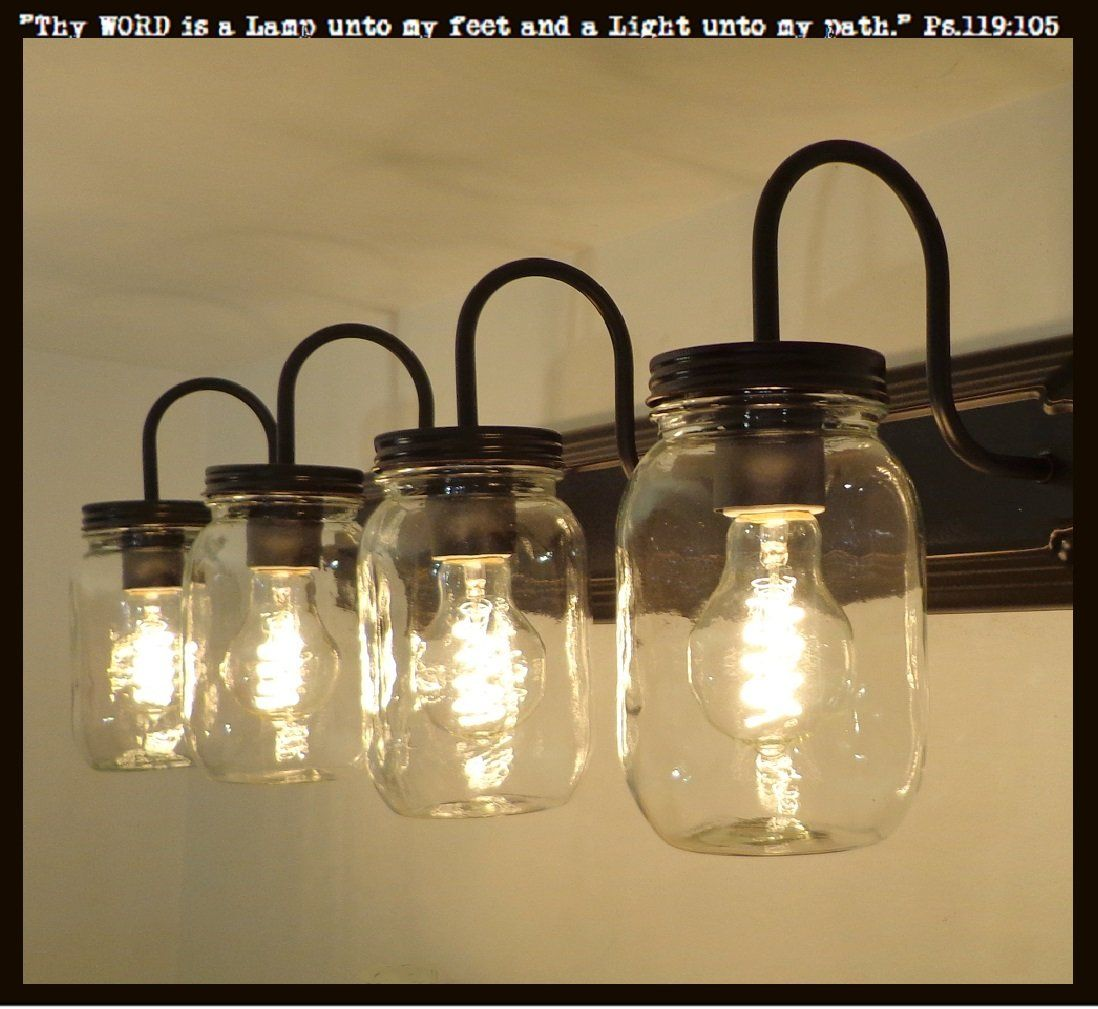 Mason Jar Bathroom Light Mason Jar Bathroom Vanity 5 Light Wall Sconce Fixture In 2019