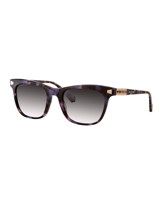 4c85fb09fc30d Balmain Tortoiseshell Gradient Rectangle Sunglasses