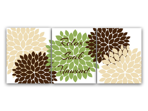 brown and green bathroom accessories. Home Decor Wall Art Green And Brown Bathroom By WallArtBoutique Accessories D