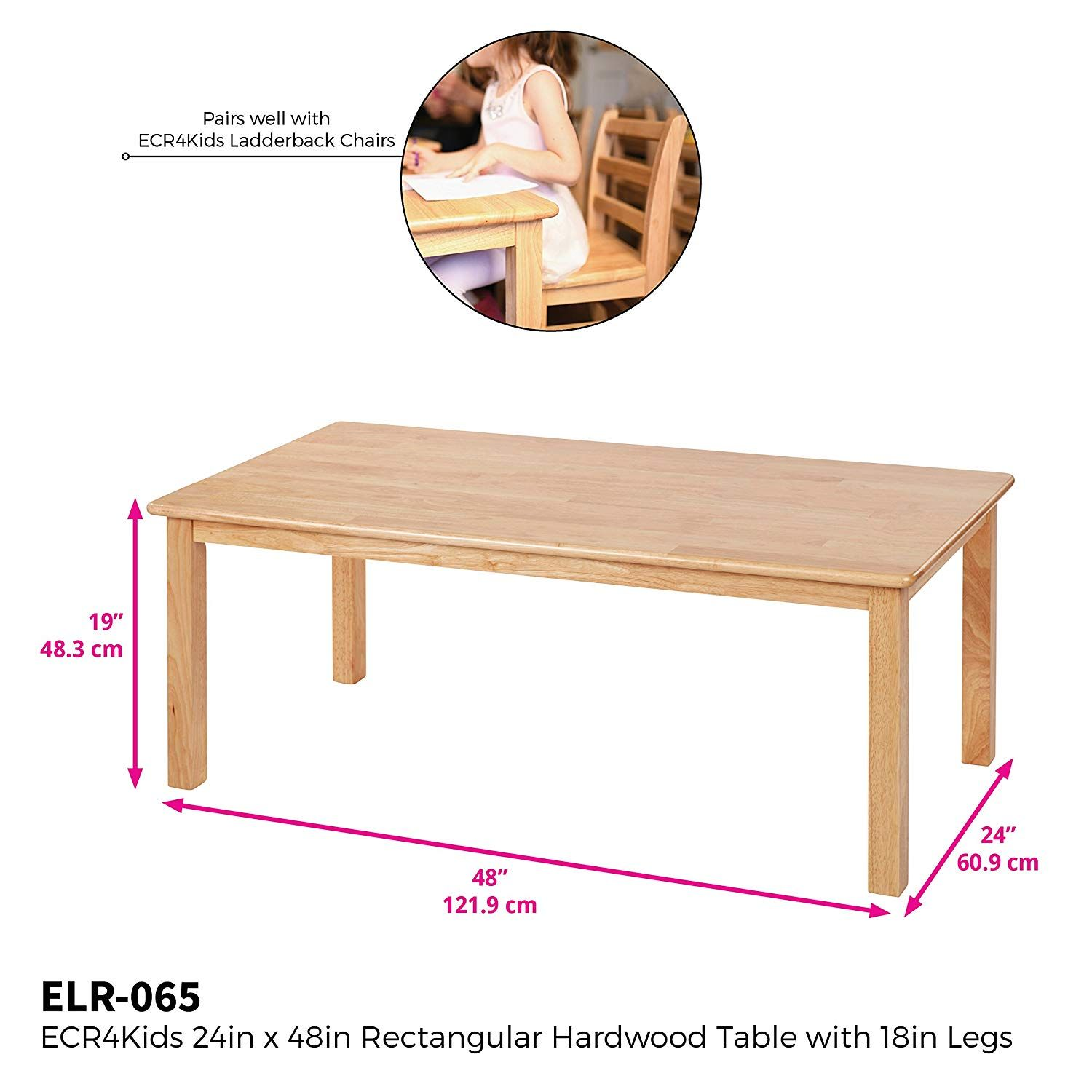 Amazon Com Ecr4kids Deluxe Hardwood Activity Play Table For Kids Solid Wood Childrens Table For Playroom Daycare Pres Play Table Ecr4kids Kids Activity Table