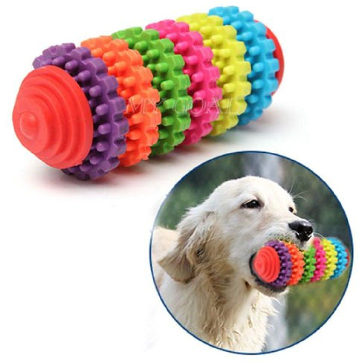 Colorful Rubber Pet Dog Puppy Dental Teething Healthy Teeth Gums ... | Healthy Chew Toys For Dogs