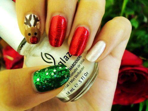 short nails xmas nail artholiday - Easy Christmas Nail Art For Short Nails