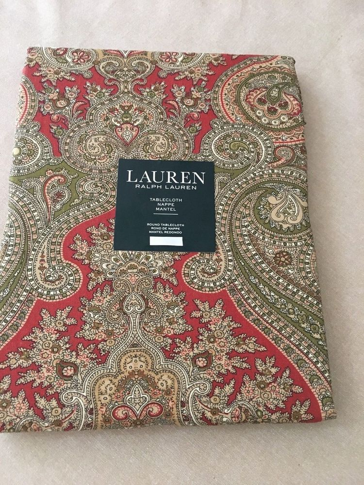 Tablecloth Is Available With Or Without A Center Umbrella Hole For Your  Outdoor Table. Beautiful Rust Green Tan Paisley Print Table Cloths And  Matching ...