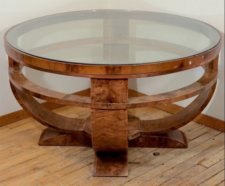 Round Art Deco French Glass Top Coffee Table With Burled Finish